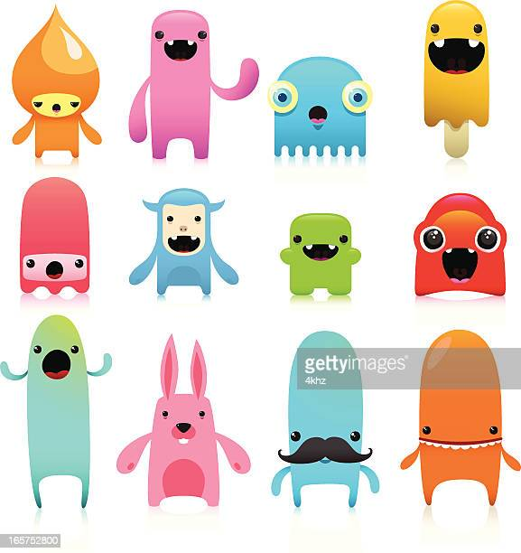 funny and cute vector character set - cute stock illustrations