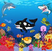 funny animal cartoon with sea life background