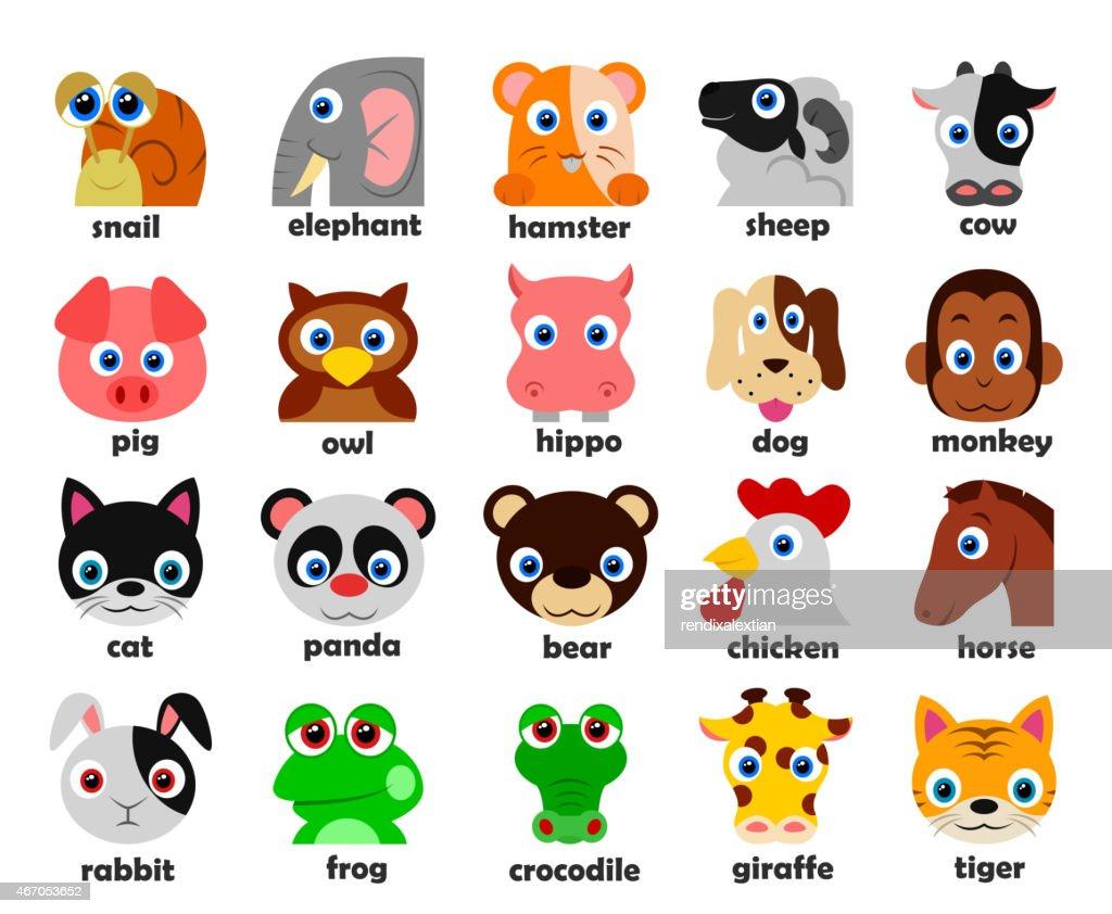 Funny Animal heads set Vector illustration