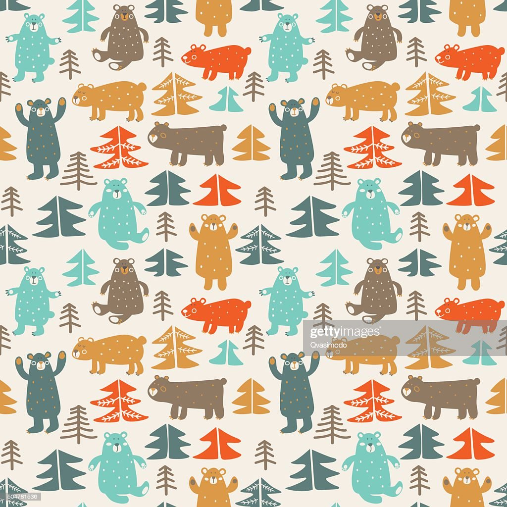 Funny animal seamless pattern made of bears in forest