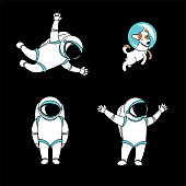 Funny astronaut spaceman characters exploring outer space