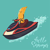 Funny Banana on a jet ski. Vector cartoon character of cute fruit of summer water activities. Illustration of sport and healthy lifestyle.