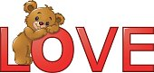 Funny bear on the red word of love