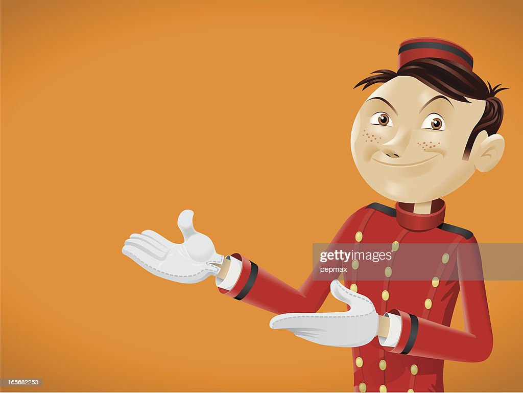 Funny bellboy doing come in gesture : stock illustration