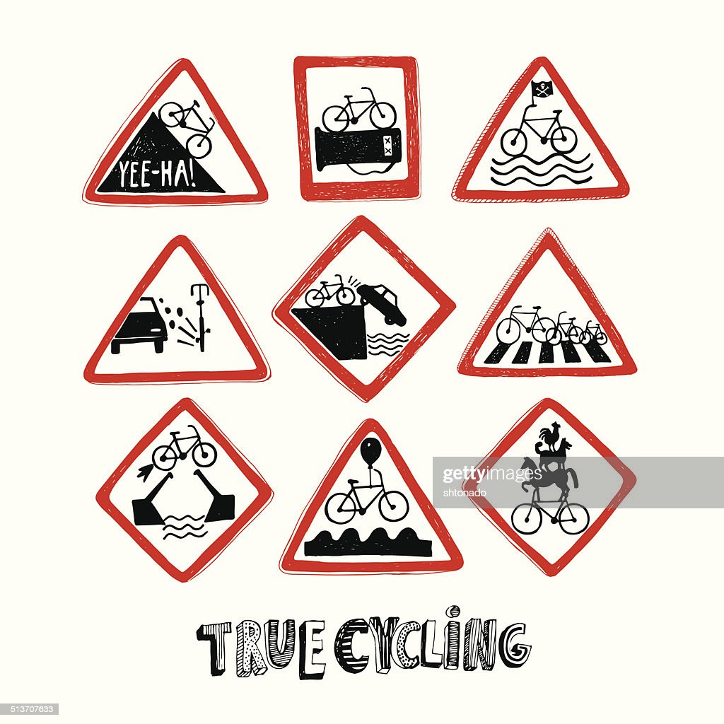 Funny bicycle road signs