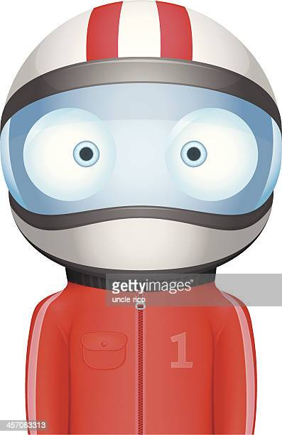 funny bighead racer - motorcycle helmet isolated stock illustrations, clip art, cartoons, & icons