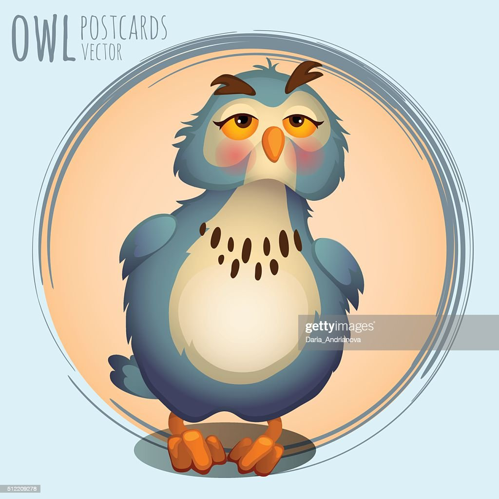 Funny blue owl, cartoon series