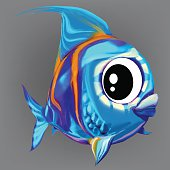 funny blue striped fish vector