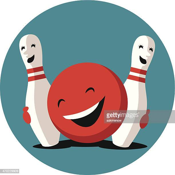 funny bowling ball hugging with cute pins - bowling ball stock illustrations, clip art, cartoons, & icons