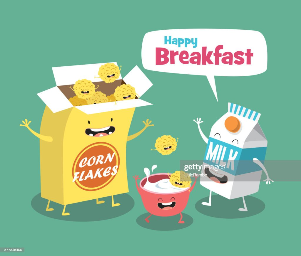 Funny breakfast set. Milk and Cornflakes. Comic characters