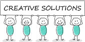Funny business illustration - cartoon stickman holding a banner with slogan: creative solutions. Vector.