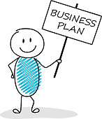 Funny business illustration - cartoon stickman holding a banner with slogan: business plan. Vector.