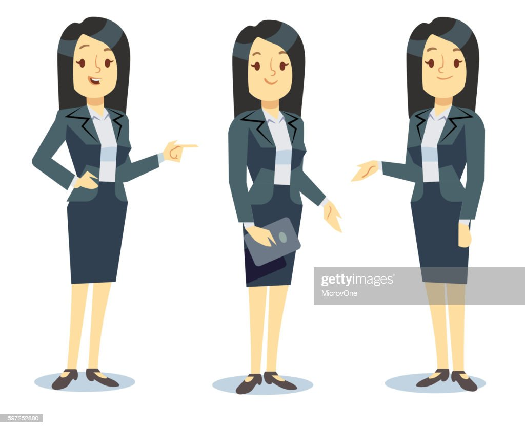 Funny businesswoman cartoon character in different poses for business presentation