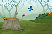 funny butterfly cartoon with deep forest background