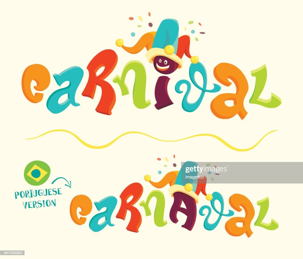 Funny carnival lettering with portuguese version