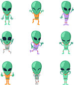 Funny cartoon aliens vector green humanoid characters