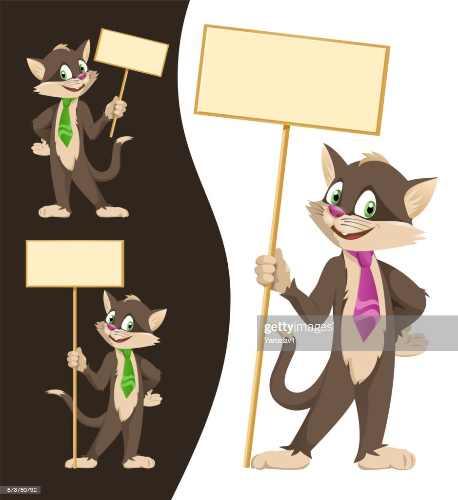 Funny cartoon black cat in a tie holding blank banners. Cartoon styled vector illustration.