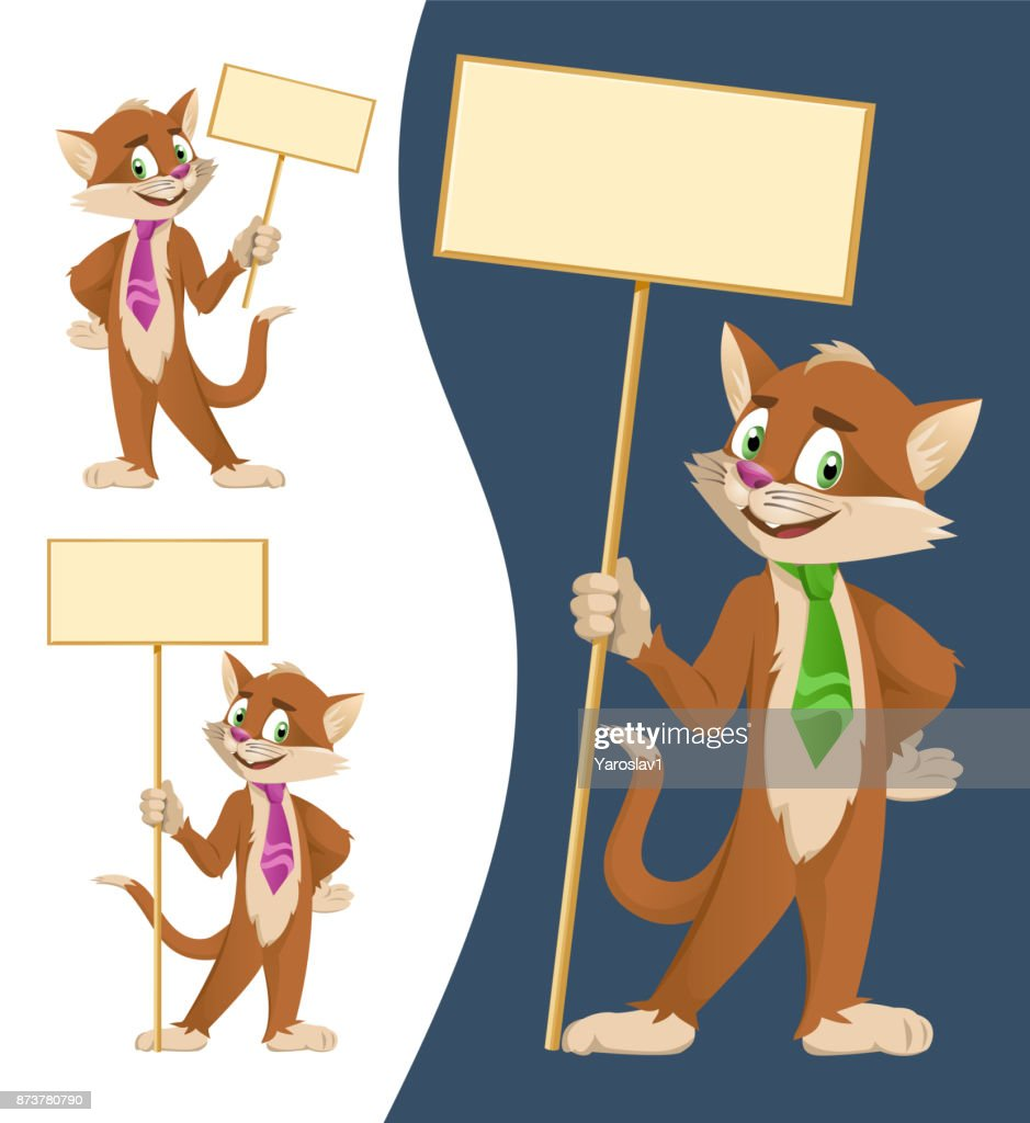 Funny cartoon cat in a tie holding blank banners. Cartoon styled vector illustration.