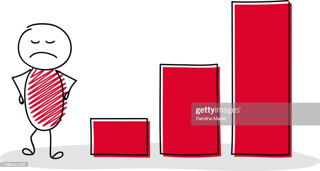 Funny cartoon character business chart. Vector. : stock illustration