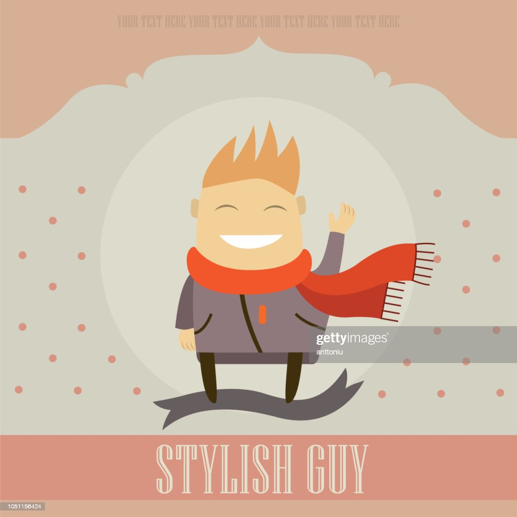 Funny cartoon character. Stylish guy on lovely background.