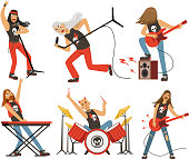 Funny cartoon characters in rock band. Musician in famous pop group. Vector mascot set