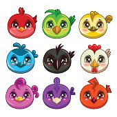 Funny cartoon colorful round birds