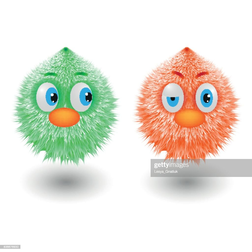 Funny cartoon colorful shaggy balls with eyes fluffy round fur characters vector illustration