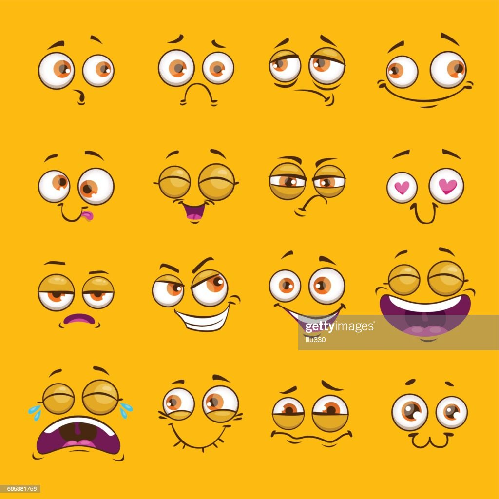 Funny cartoon comic faces on yellow background