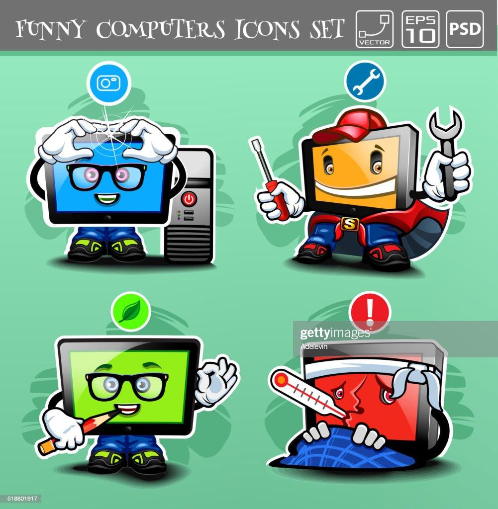 Funny cartoon computers