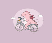 A funny cartoon dinosaur on a bicycle. Cute dragon traveler, girl and cat.
