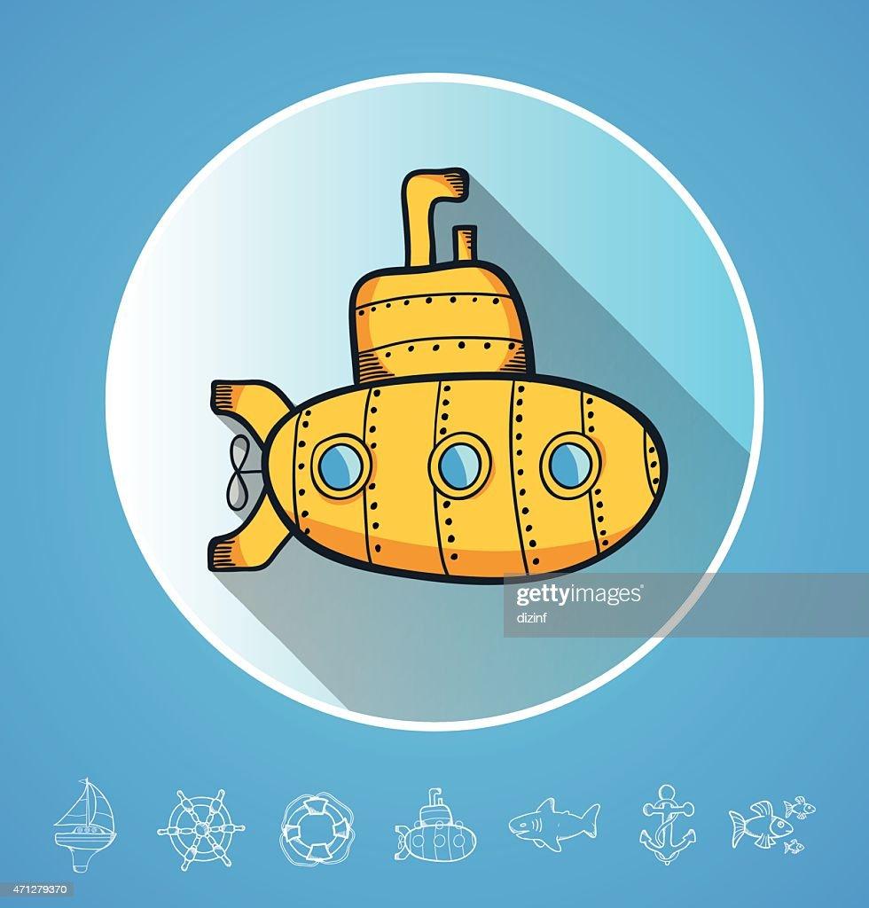 funny cartoon doodles. yellow submarine