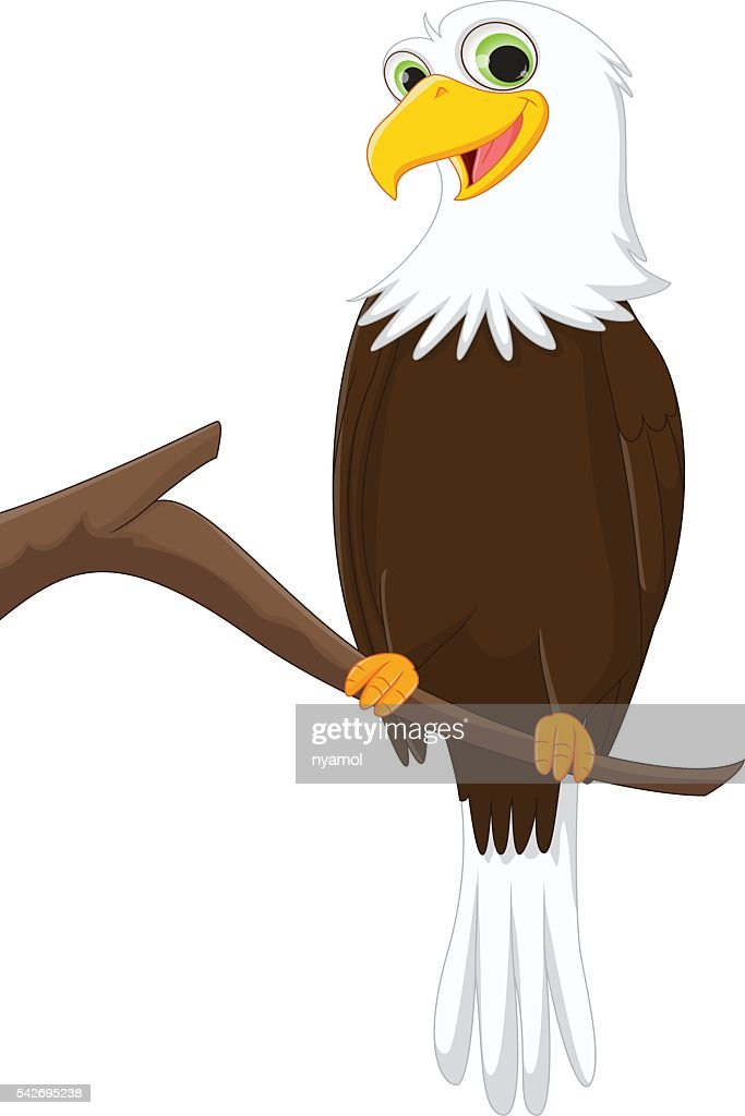 funny cartoon eagle on a tree branch