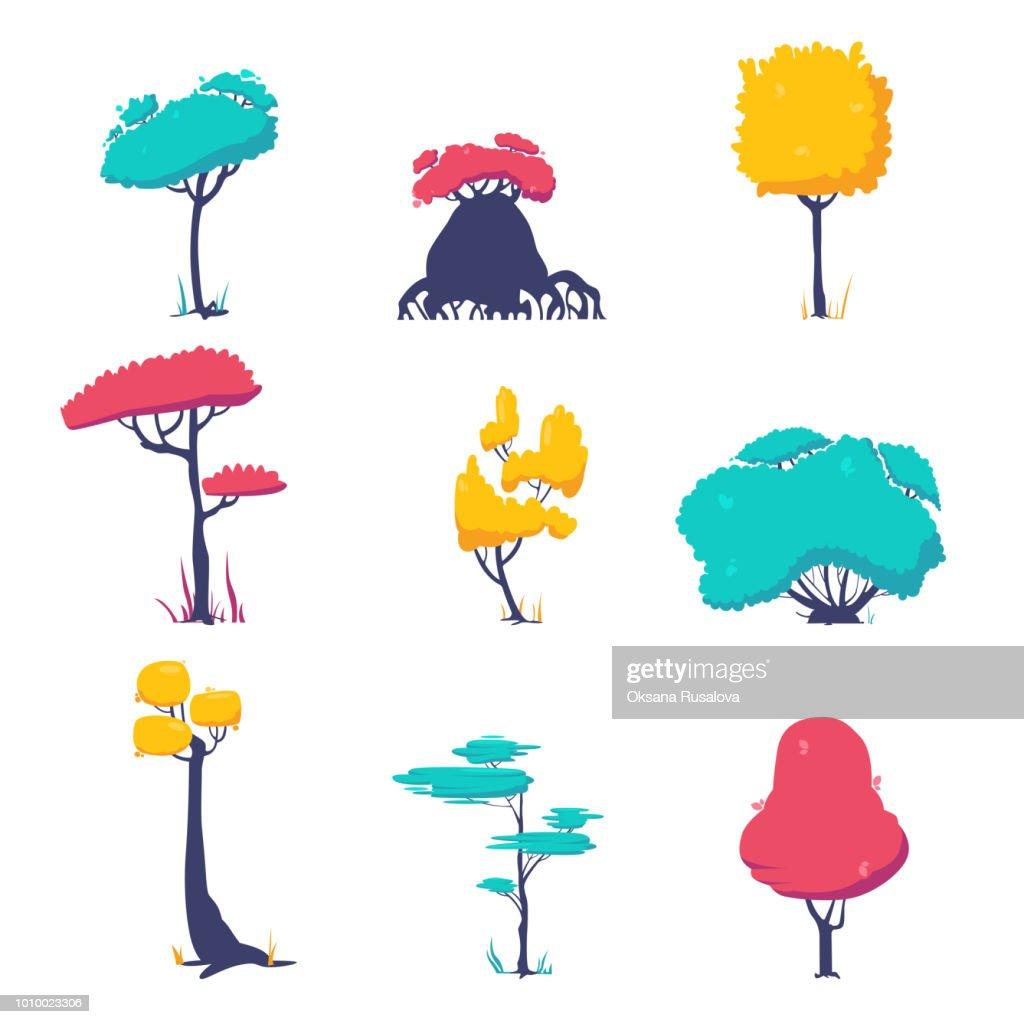 Funny cartoon fantasy shape tree set, vector nature elements, isolated on white