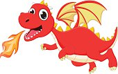 funny cartoon flying dragon with fire