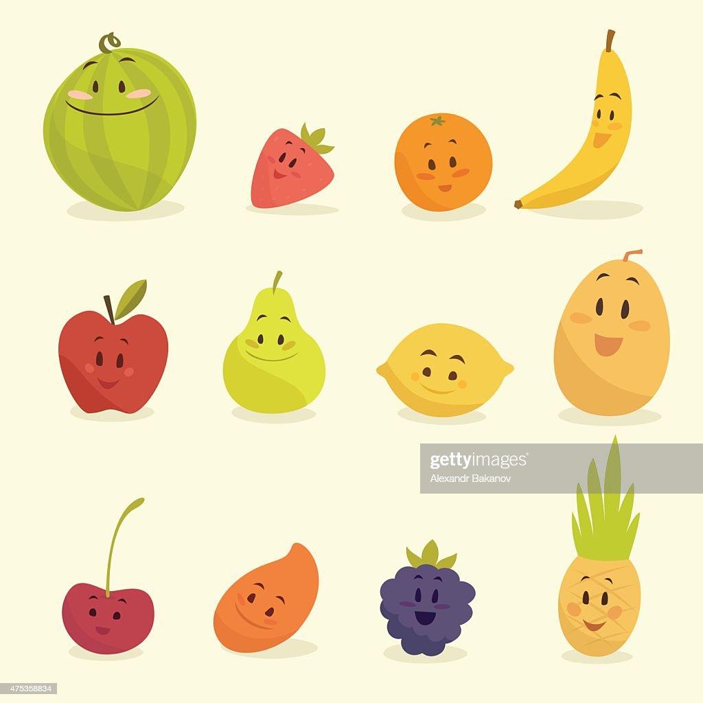 funny cartoon fruits vector illustration, flat style