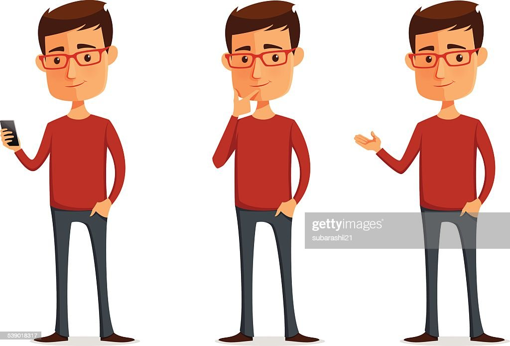 funny cartoon guy with glasses
