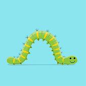 funny cartoon illustration of a crawling caterpillar