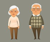 funny cartoon illustration of an elderly couple