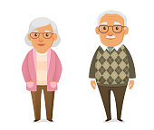 funny cartoon illustration of an elderly couple