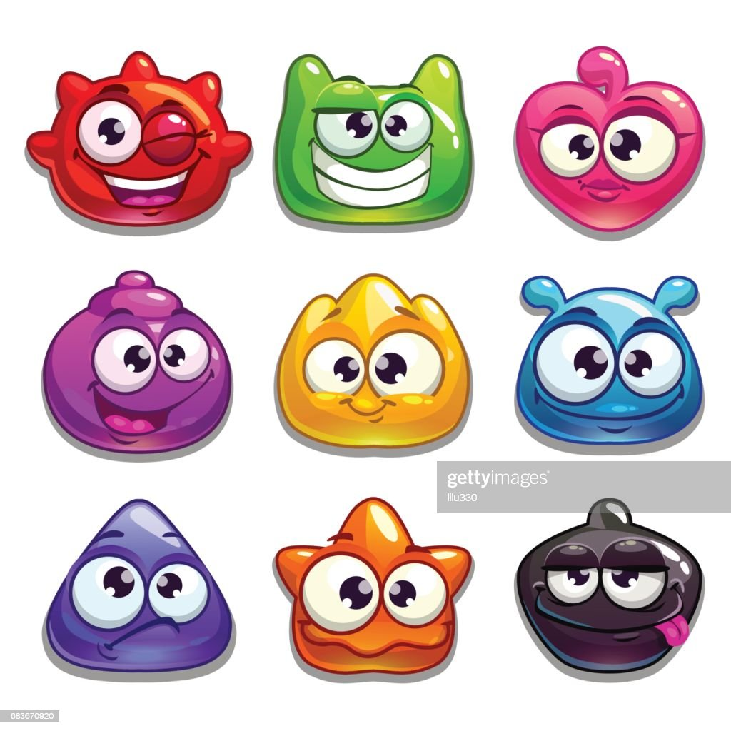 Funny cartoon jelly characters