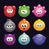 Funny cartoon  jelly round characters set