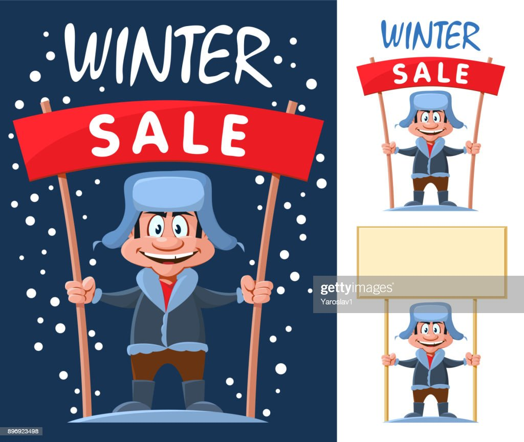 Funny cartoon man holds Winter sale banner and blank banner. Cartoon styled vector illustration. On dark background and isolated on white.
