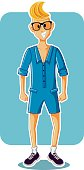 Funny Cartoon Man Wearing Male Romper