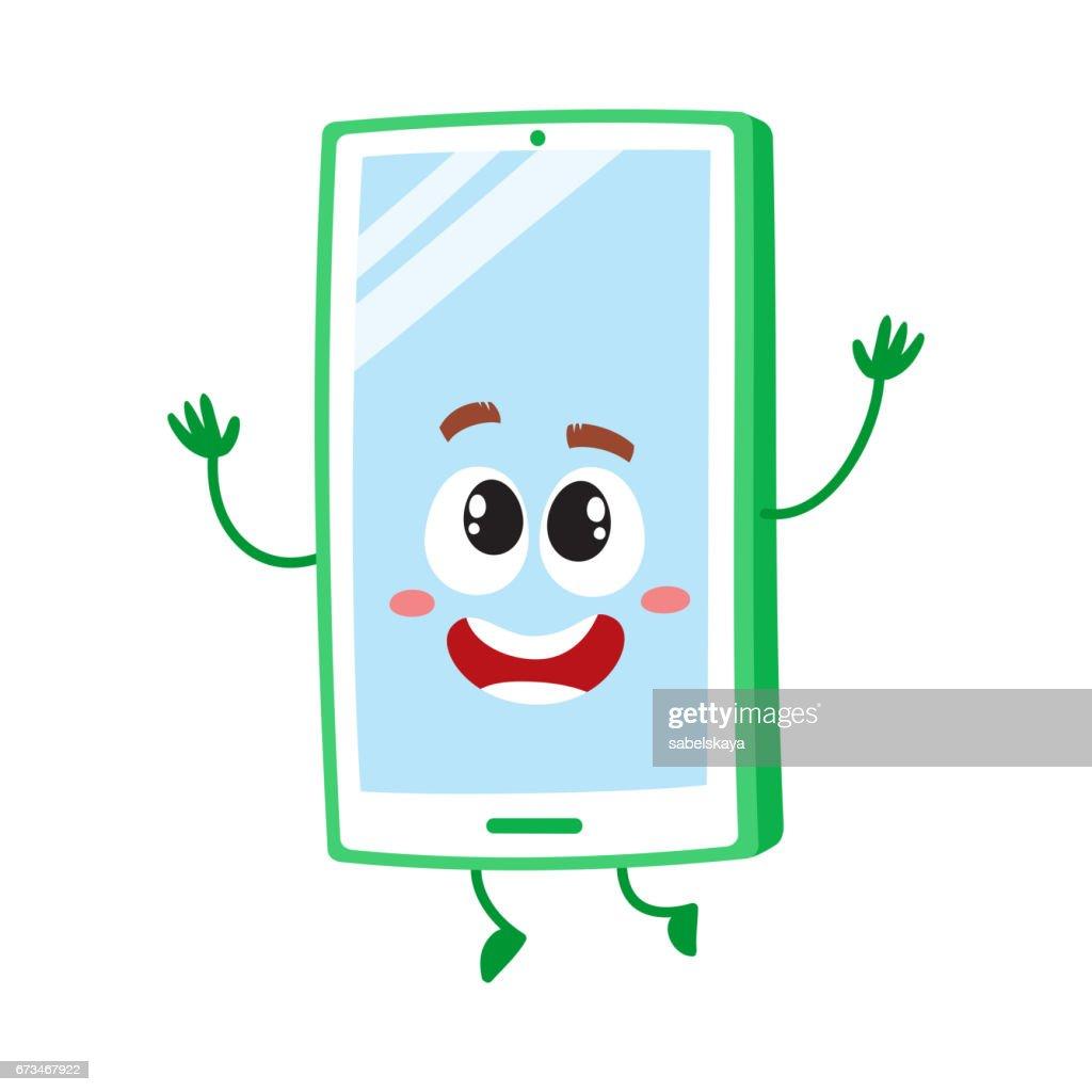 Funny Cartoon Mobile Phone Smartphone Character Raising Hands In Awe