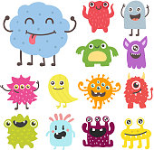 Funny cartoon monster cute alien character creature happy illustration devil colorful animal vector