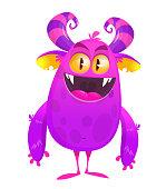 Funny cartoon monster. Halloween vector illustration