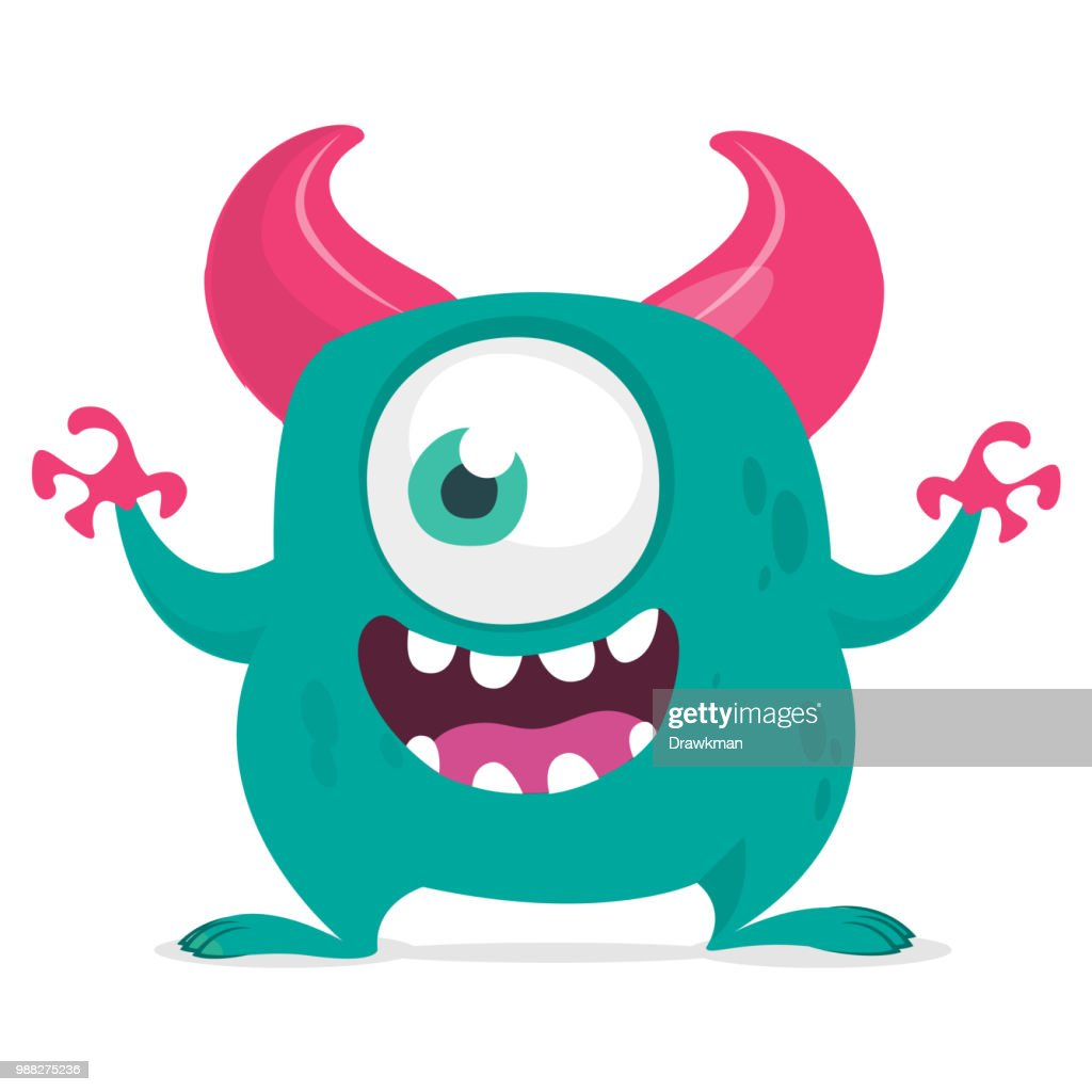 Funny cartoon monster with one eye. Vector blue one-eyed monster illustration. Halloween design