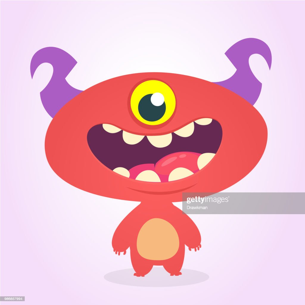 Funny cartoon one- eyed alien. Vector illustration of alien red monster character