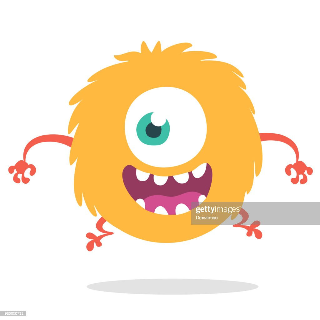 Funny cartoon one eyed monster. Vector illustration for Halloween