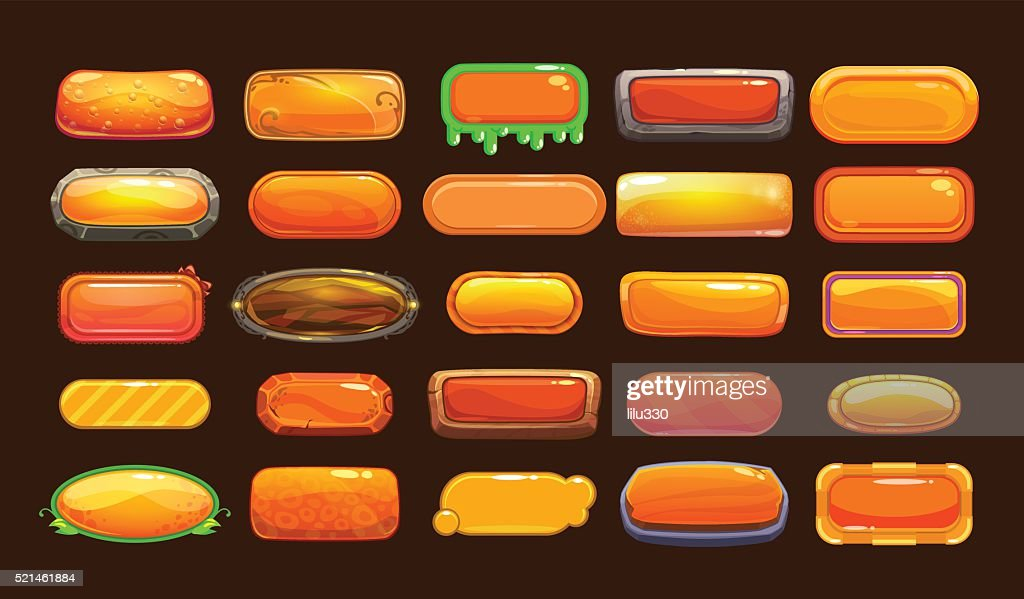 Funny cartoon orange long horizontal buttons